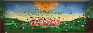 Dows Lane mural of students